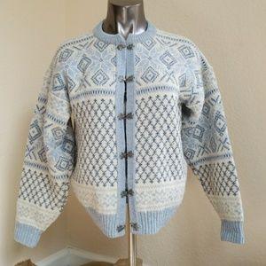 Vintage Norwegian Nordic Wool Cardigan Sweater